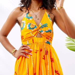 Traditional African Dashiki  Kitenge  Kanga Wax Print Halter Long Summer Dress