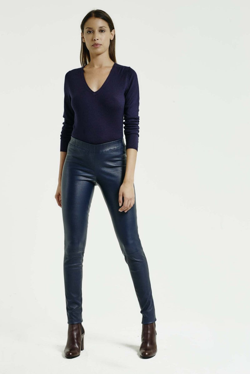 Pull on Leather Legging In Navy