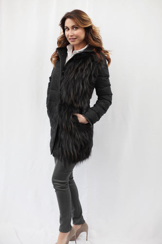 Mid Length Hooded Fox Jacket