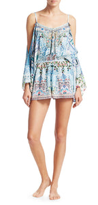 Bohemian Print Silk Could Shoulder Playsuit
