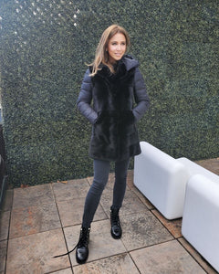 Long Mink/Down Jacket In Black
