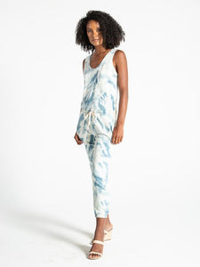 World Jumpsuit in Tie Dye -Sky Cashmere