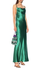 Galvan Whiteley Cowl Neck Silk-Satin Gown In Green