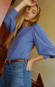 Nation Ltd Loren Smocked Peasant Tee in Periwinkle
