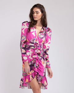PatBO Grace Print Belted Knee-Lengh Dress