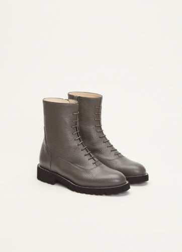 Fabiana Filippi Leather Biker Boots in Graphite