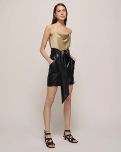 Nanushka Draped slip satin top