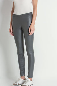 Pull on Leather Legging in Dark Grey