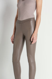 Pull on Leather Legging In Taupe
