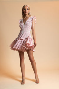 Chio Ruffle Mini Dress With Macrame Inserts