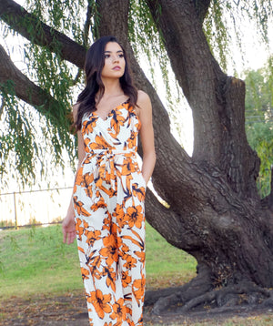 Tropical Orange Flower Jumpsuit