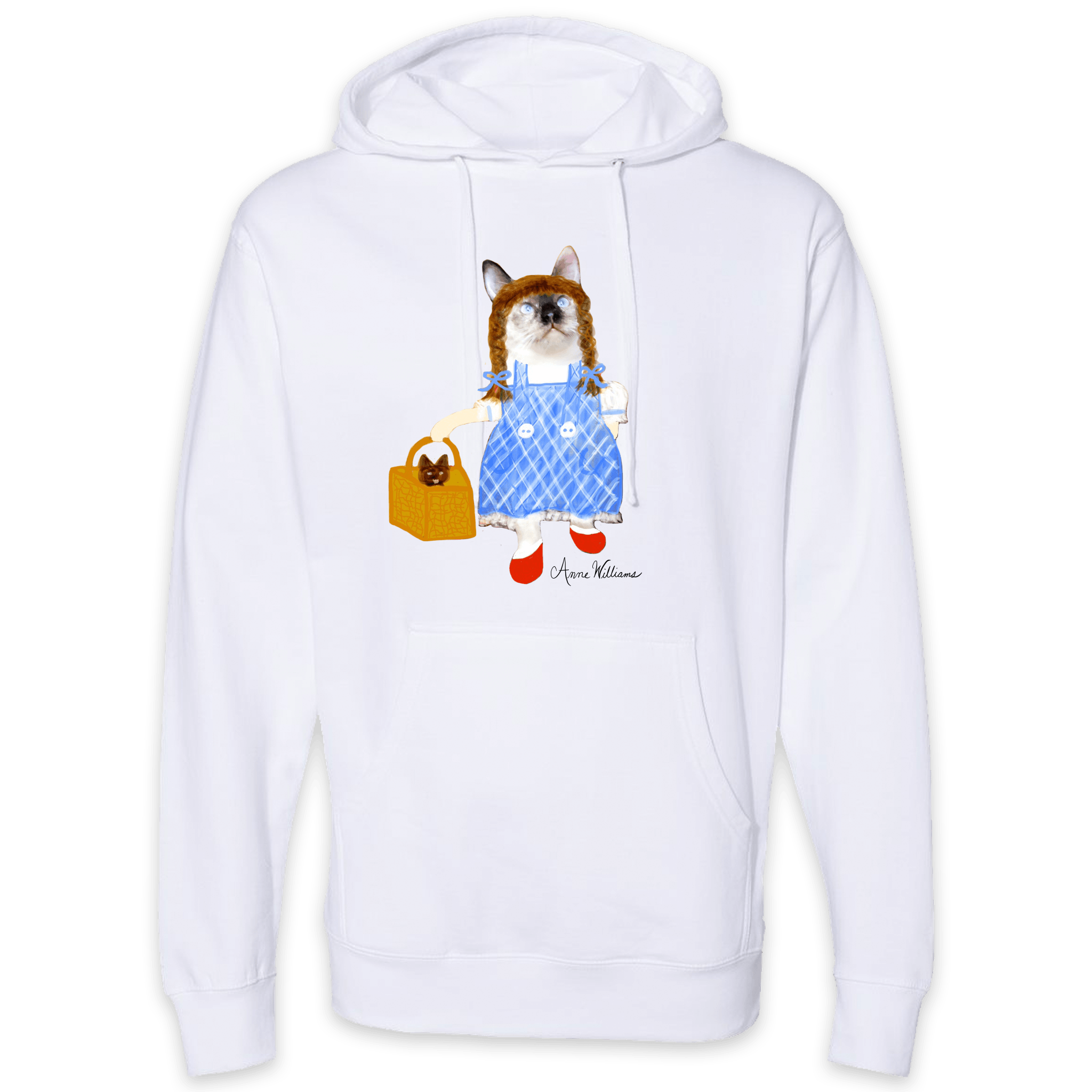 Anne Williams Art Red Ball Cat Pullover Hooded Sweatshirt