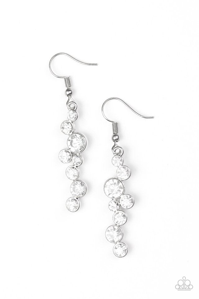 Paparazzi Accessories Milky Way Magnificence - White Earring - Be Adored Jewelry