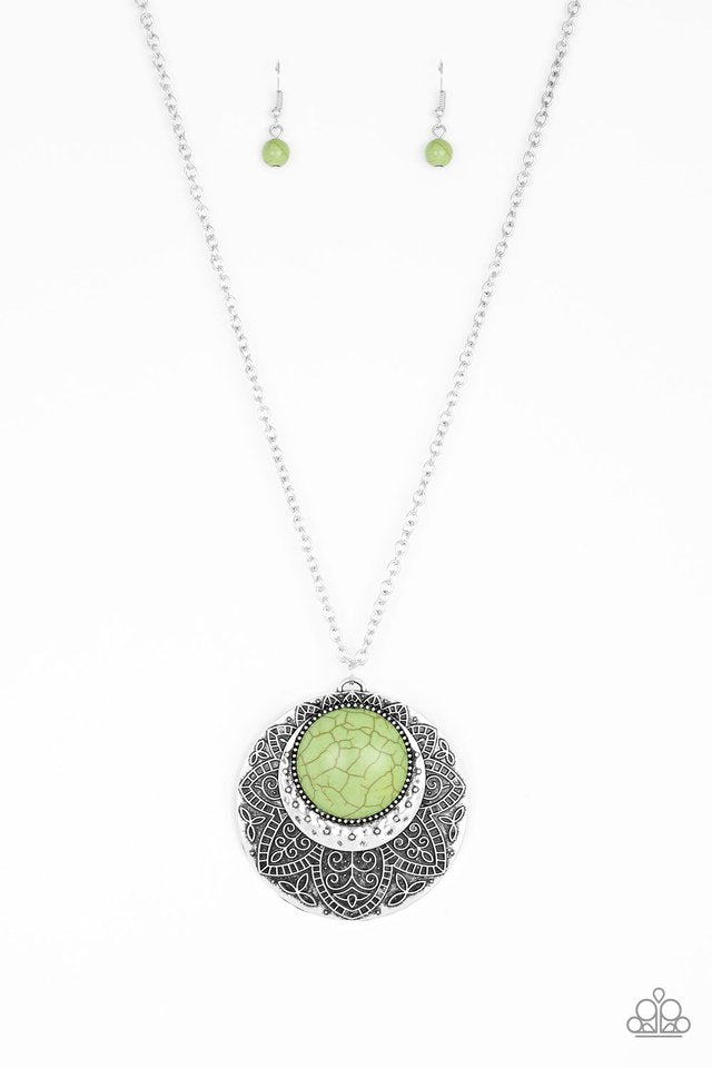 Paparazzi Medallion Meadow - Green Necklace - Be Adored Jewelry