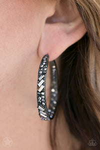 Paparazzi Glitz by Association - Black Hoop Earring - Be Adored Jewelry