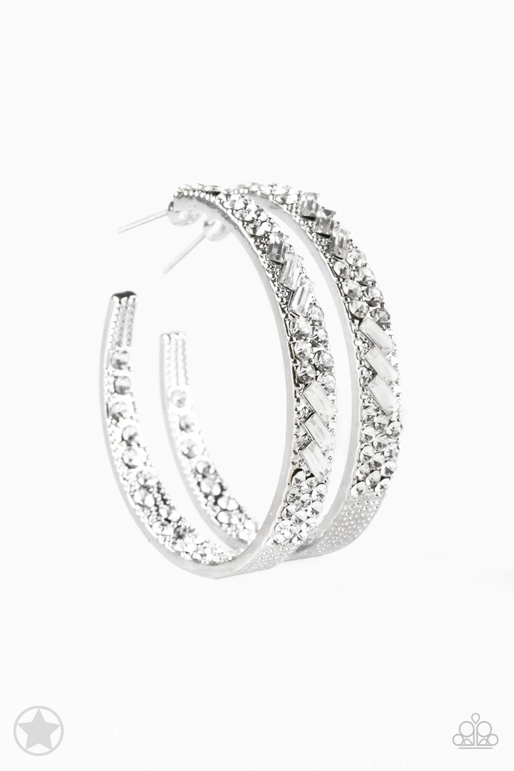 Paparazzi Glitz by Association - White Hoop Earring - Be Adored Jewelry