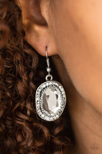 Paparazzi Accessories Queen and Queens - White Earring - Be Adored Jewelry