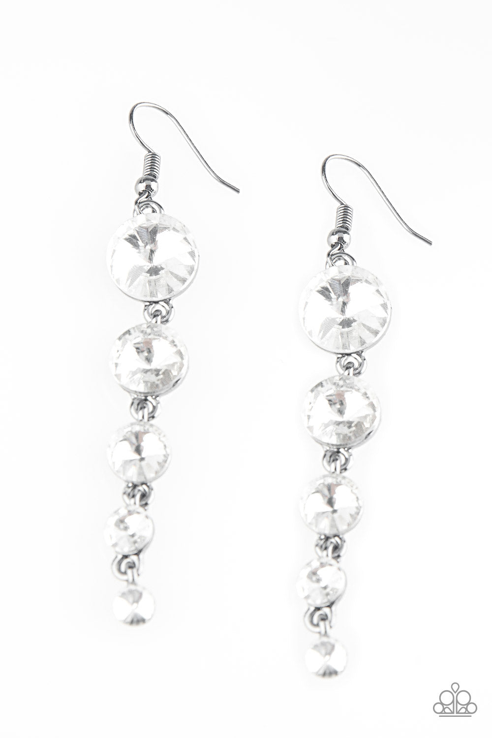 Paparazzi Accessories Raining Rhinestones - White Earring - Be Adored Jewelry