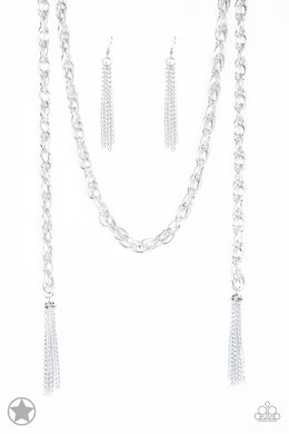 Paparazzi Accessories SCARFed for Attention - Silver Necklace Blockbuster - Be Adored Jewelry