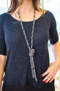 Paparazzi Accessories SCARFed for Attention - Gunmetal Necklace Blockbuster - Be Adored Jewelry