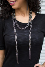 Load image into Gallery viewer, Paparazzi Accessories SCARFed for Attention - Gunmetal Necklace Blockbuster - Be Adored Jewelry