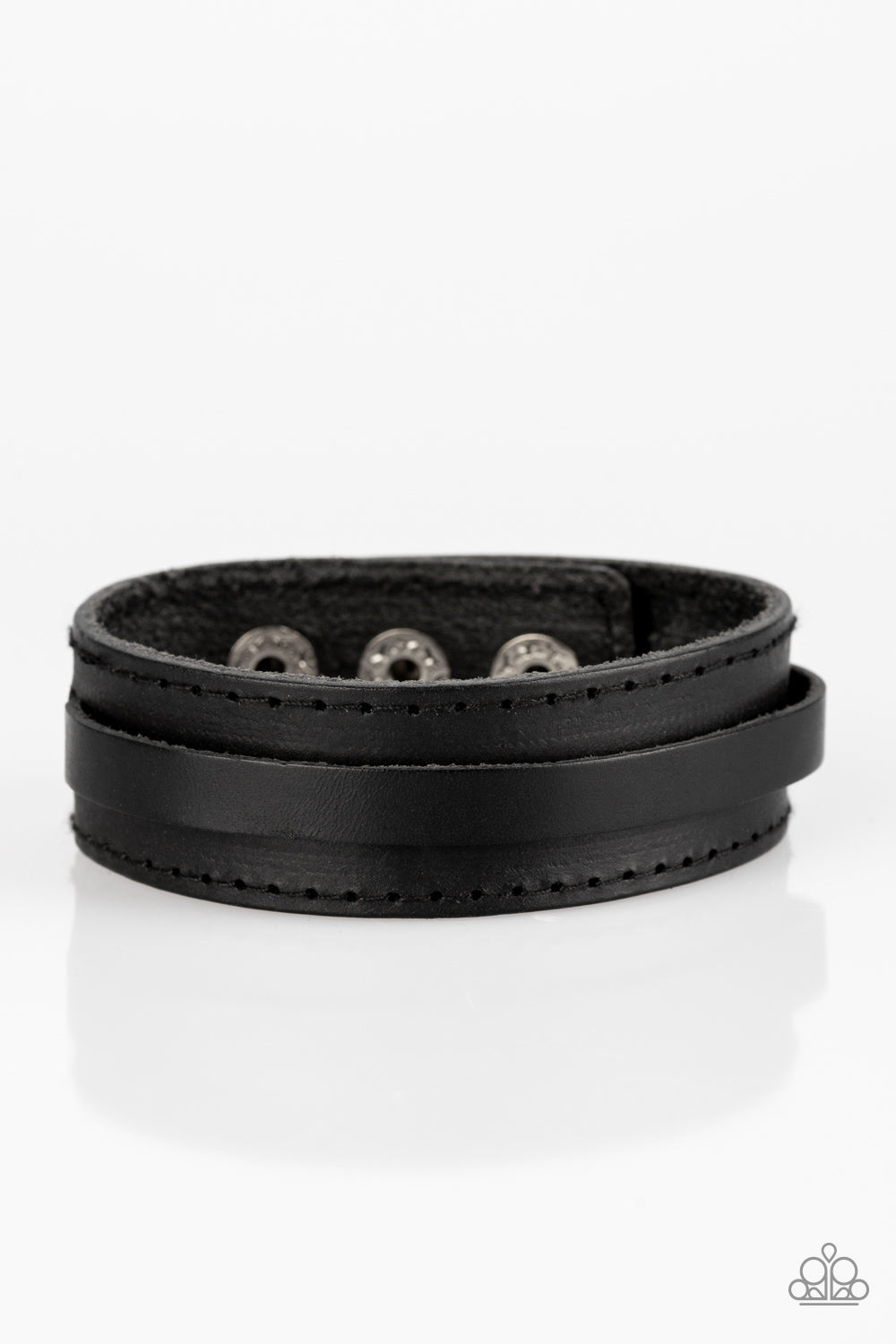 Paparazzi Accessories Scenic Scout - Black Urban Leather Bracelet - Be Adored Jewelry