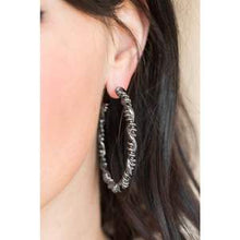 Load image into Gallery viewer, Paparazzi Accessories Street Mod - Black Hoop Earring - Be Adored Jewelry