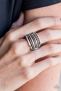 Paparazzi Accessories The STEEL OF Night - Silver Ring Sunset Sightings Fashion Fix - Be Adored Jewelry