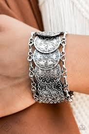 Tribal Treasure Trove - Paparazzi Silver Bracelet - Be Adored Jewelry