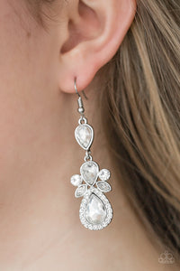 Paparazzi All About Glam - White Earring - Be Adored Jewelry