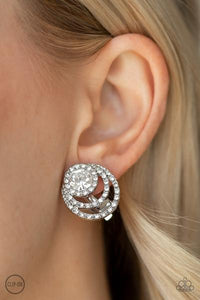 Be Adored Jewelry Epic Epicenter- White Paparazzi Clip-On Earring