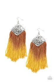 DIP The Scales - Yellow Paparazzi Earring - Be Adored Jewelry
