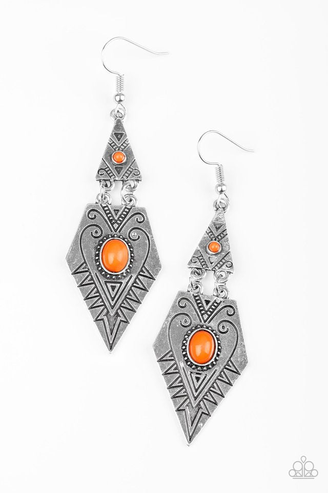 Paparazzi Drifting Dunes - Orange Earring - Be Adored Jewelry
