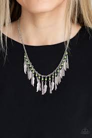 Feathered Ferocity Paparazzi Green Necklace - Be Adored Jewelry