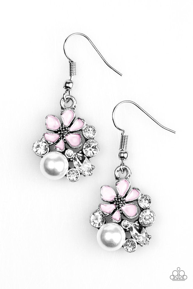 Floral Oasis - Paparazzi Pink Earring - Be Adored Jewelry