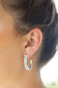 Glitter Galaxy - Paparazzi White Hoop Earring - Be Adored Jewelry