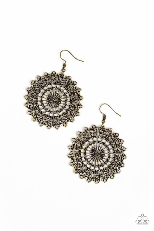 Globetrotting Guru - Paparazzi Brass Earring - Be Adored Jewelry