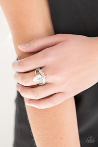 Paparazzi Accessories If The Crown Fit - White Ring - Be Adored Jewelry