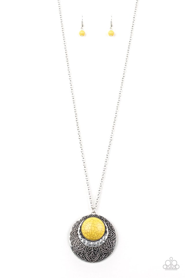 Paparazzi Medallion Meadow - Yellow Necklace - Be Adored Jewelry
