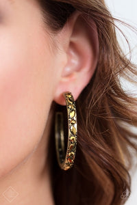Paparazzi Accessories Million Dollar Mama - Brass Earring Magnificent Musing Fashion Fix - Be Adored Jewelry