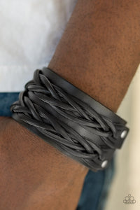 Paparazzi Accessories No Mercy - Black Leather Urban Bracelet - Be Adored Jewelry