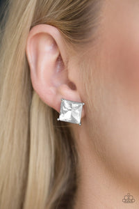 Paparazzi Accessories Prima Donna Drama - White Earring - Be Adored Jewelry