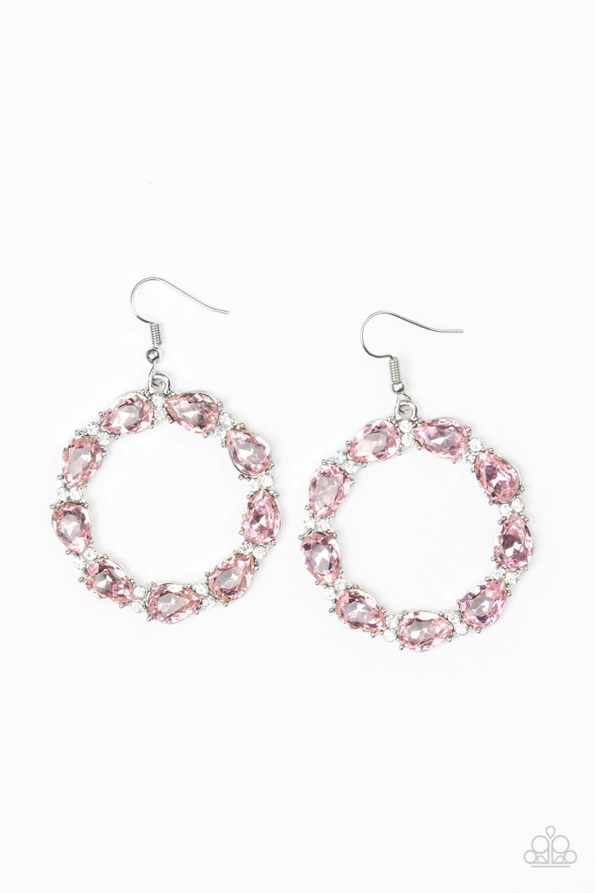 Paparazzi Accessories Ring Around The Rhinestones - Pink Earring - Be Adored Jewelry