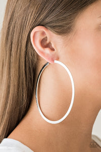 Paparazzi Accessories Size Them Up - Silver Hoop Earring - Be Adored Jewelry