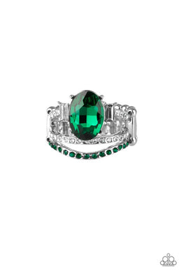 Paparazzi Spectacular Sparkle - Green Ring - Be Adored Jewelry