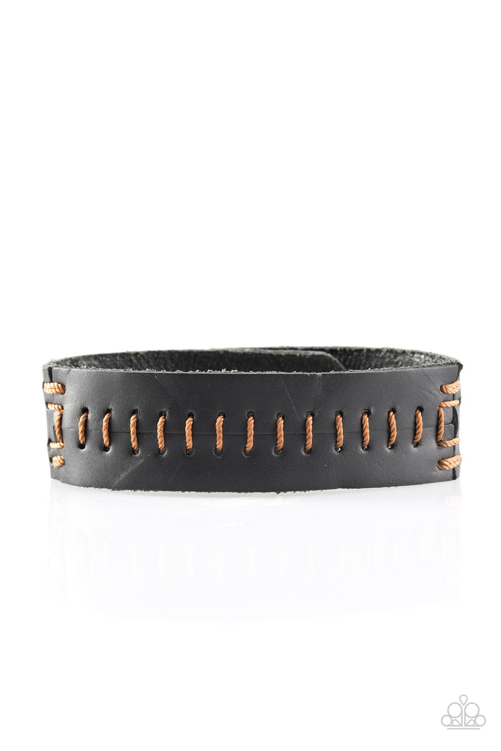 Paparazzi Accessories Take One For The Team - Brown Stitched Urban Bracelet - Be Adored Jewelry