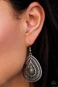 Paparazzi Accessories The Grate Beyond - Green Earring Sunset Sightings Fashion Fix - Be Adored Jewelry