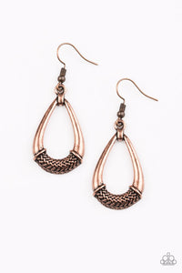Paparazzi Accessories Trending Texture - Copper Earring - Be Adored Jewelry