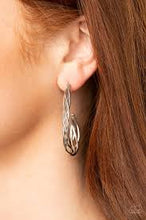 Load image into Gallery viewer, Be Adored Jewelry Twisted Tango Silver Paparazzi Hoop Earring
