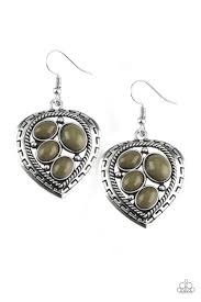 Be Adored Jewelry Wild Heart Wonder - Green Paparazzi Earring